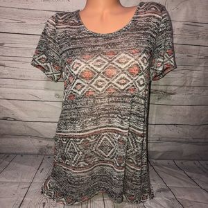 AB studio patterned top size large